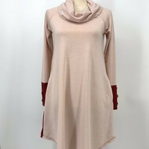 Reborn J Pink Cowl Neck Dress with Pockets  Small